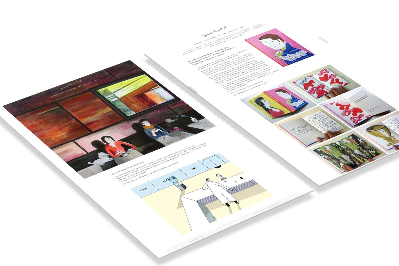 Darstellung von zwei Beispielseiten als Referenz der Webseite der Grafikerin Yvonne Kuschel